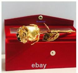 Real Rose Dipped in 24K Gold 6 Inch withBeautiful Velvet Gift Box Valentines Day