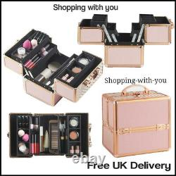Rose Gold And Pink Vanity Case With Velvet Lining Includes Lockable Front Clasp
