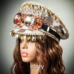 Rose Gold Sequin Festival Military Burning Man Captain Hat + Kaleidoscope Goggle
