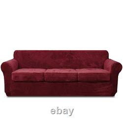 Rose Home Fashion 4 Piece Velvet Sofa Covers for 3 Seaters, Stretch Sofa Cover