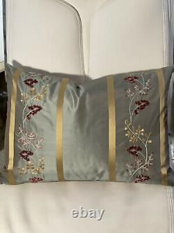 Rose Of Tralee Blue/gold Embroidered Velvet Floral Silk Pillow