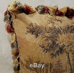 SOLD OUT Vintage Tapestry Pillow, Children Dogs, Gold Beige Gray Rose