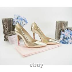 Sophia Webster Coco Gold Leather Ombre Crystal Encrusted Heels Size 37 7 NIB