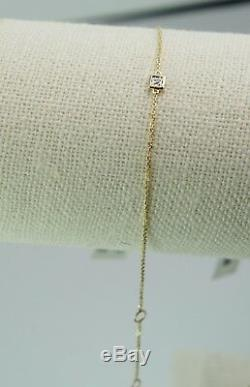 Square Gold Bar Bracelet with Natural Diamond in 9K Yellow Gold & Gold Chain