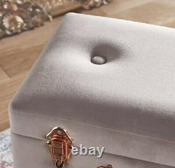 Storage Trunk Stool Pearlised Pouffe Velvet Pink and Rose Gold