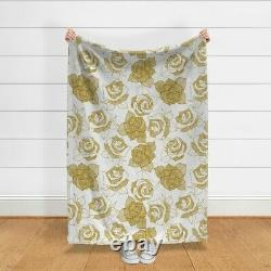 Throw Blanket Roses Line Drawing Golden Textured 48 x 70in