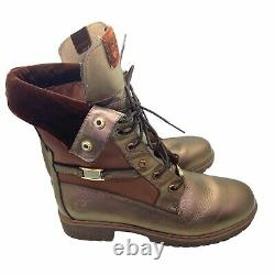 Timberland Women's Rose Gold Bronze Mid Calf Lace Up Combat Boots Size 10 M