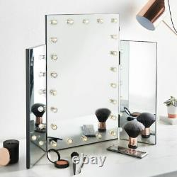 Trifold Central Mirror Side Warm Led Lights Dressing Table Velvet Feet Aa Makeup