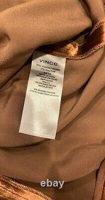 Vince Panne velvet wrap top in Pink/Gold Sz M NWT