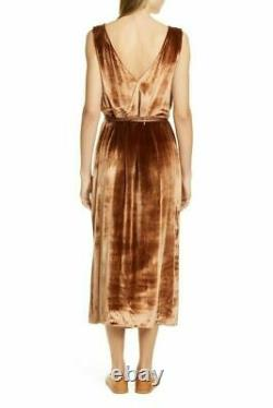 Vince Women's Dress XS Chiffon Silk Rust Velvet Pann Wrap Sleeveless Midi $445