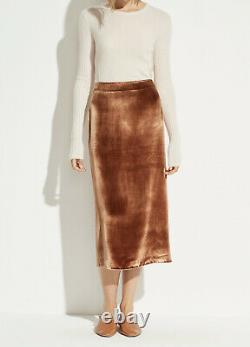 Vince Women's Skirt Size 4 Rose Gold Panne Velvet Straight Pencil Midi $325