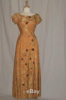Vintage 1950s Dress Formal Gold Brocade Brown Velvet Rose Applique Full Sweep S
