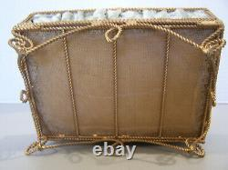 Vintage Wired Gold Filigree Jewelry Casket Green Velvet Lining Roses & Pearls