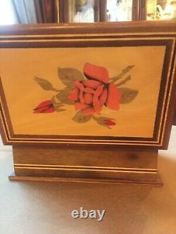 Vintage Wooden Inlaid rose jewelry box Gold Velvet Lining 7.5 X 5 Heavy Wood